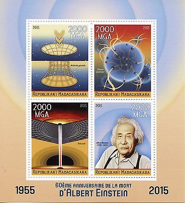 Madagascar 2015 MNH Albert Einstein 60th Memorial 4v M/S Science Physics Stamps