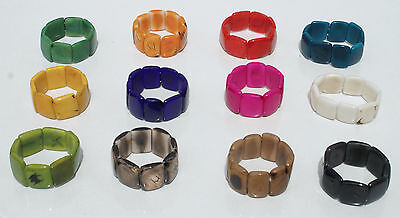 Lot 10 Bracelets Natural Tagua Nut Bead Handmade Jewelry Wholesale Craft Ecuador