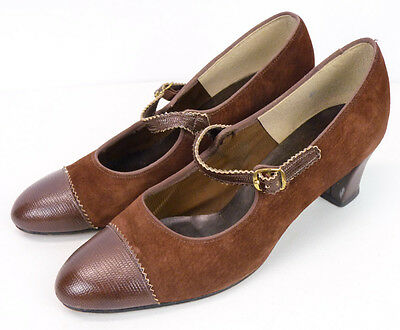 Vintage 60s Brown Suede Leather Mary-Jane Strap Pump Heels 8.5 Hush Puppies