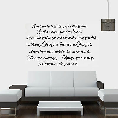 Life Goes On... Quote Vinyl Wall Art Sticker,Decal Any Room