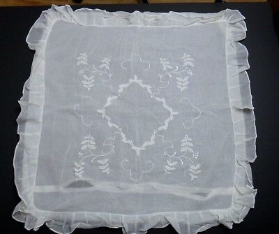 "French Pillow Sham - 30"" Vintage Delicate Fancy Ruffles & Embroidery on Voile"