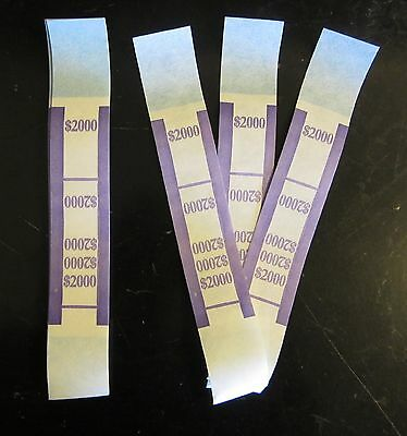 200  Self Sealing Purple $2000 Currency Straps Money Bill Bands Pmc Brand Band