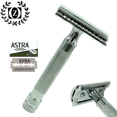 Classic Double Edge Safety Razor For Men's Shaving With 5 Astra Bldes Free
