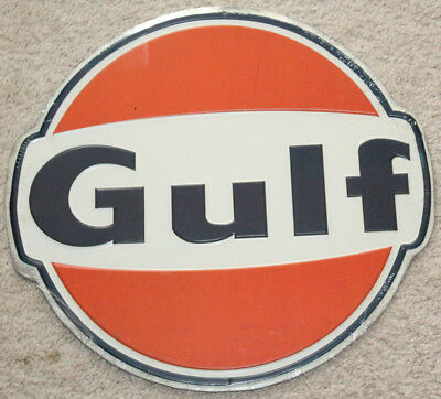 Gulf Oil Gas Sign  Old Vintage 1960's Style Advertising Antique Gas Pump Sign