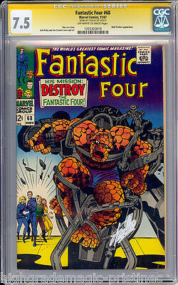 Fantastic Four #68 Cgc 7.5 Oww Stan Lee Ss Signed Cgc #1203320019