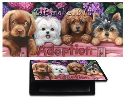 Adoption ART wallet CHECKBOOK cover Poodle Yorkie Maltese chocolate lab painting