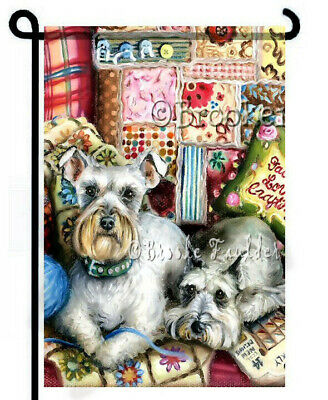 SCHNAUZER painting GARDEN FLAG puppy crafty QUILT Dogs ART