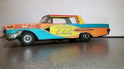 Vintage 1961 FORD GALAXIE STOCK CAR ~ Tin Friction Toy ~ Made by TAIYO in JAPAN