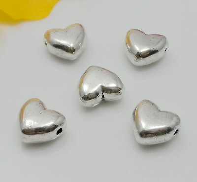 Free Ship 50Pcs Tibetan Silver Heart Spacer Beads For Jewelry Making 5x9mm