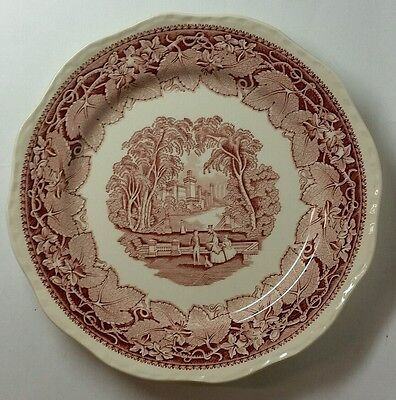 "Mason's ""Vista"" Pink Dinner Plate - Large 10 5/8"" Size - England"