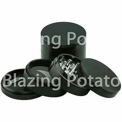 2.5 Inch 4 Piece Aluminum Grinder Crusher Tobacco Herb Spice -USA Seller- BLACK