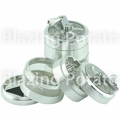 2.5 Inch 4 Piece Aluminum Handle Grinder Crusher Tobacco Herb Spice -USA- SILVER