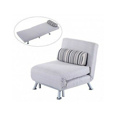 Grey Folding Sofa Bed Futon Single Chair Sleeper Couch Lounger Guest Bed Room Cm