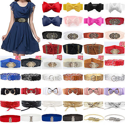 Fashion Womens Ladies Bowknot Buckle Wide Stretch Elastic Waist Belt Waistband
