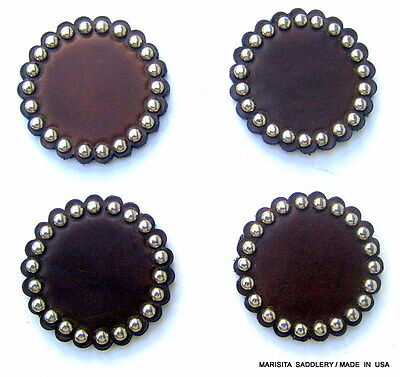 """Four 2""""  Chocolate Leather Rosettes/conchos-Nickle Spots-Usa Made-Free Shipping"""