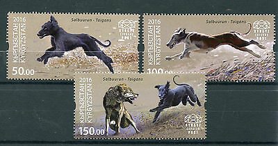 Kyrgyzstan KEP 2016 MNH Salbuurun Traditional Hunting Taigans 3v Set Dogs Stamps
