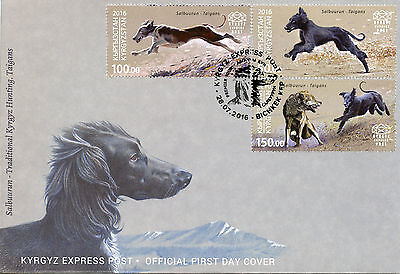 Kyrgyzstan KEP 2016 FDC Salbuurun Trad Hunting Taigans 3v Set Cover Dogs Stamps