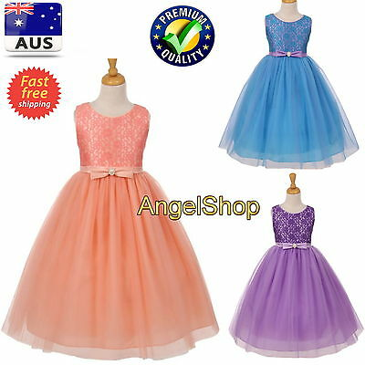 Flower Girls Dress Lace & Tulle Princess Formal Wedding Birthday Party Pageant