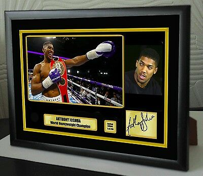 "Anthony Joshua World Champion Framed Canvas Print Signed ""Great Gift-Souvenir"""
