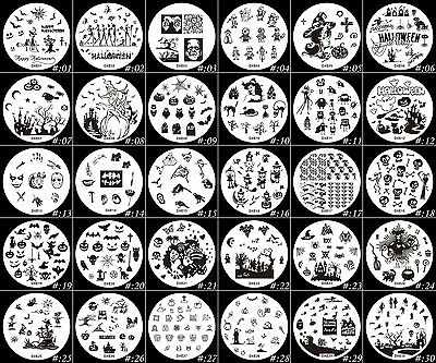 30Pcs Halloween Style Manicure Templates Stainless Steel Nail Art Stamping Plate