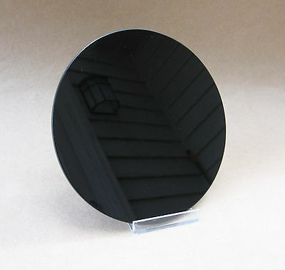 "Black Glass Scrying Mirror 6"" NEW Small Flat Round Mirror Magic Divination"