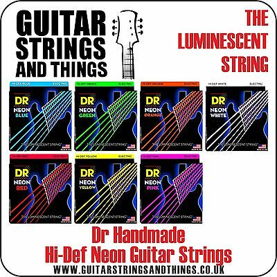 Dr Handmade NEON COLOUR COATED Nickel Electric Guitar Strings - ALL GAUGES
