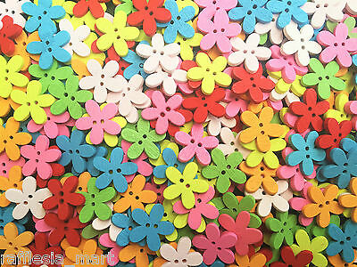 Flowers Wood Buttons - Mix Colour - Cardmaking - Craft - Sewing (50 /100 pcs)