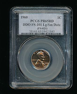 1960-P Large/Small Date DDO Lincoln Penny/Cent PCGS PR 65 Red (RD) FS-101 FS-025