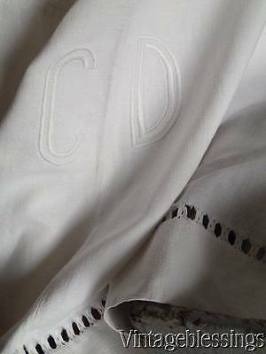Antique c1880 Center Seam Monogram CD French LINEN sheet TEXTILE