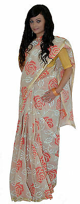 Cream Peach/Red Damask Flower Tangail Saree (TG2038)