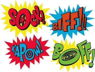 Marvel Super Hero Kapow Zap Boom Pow Edible A4 ICING CAKE TOPPER