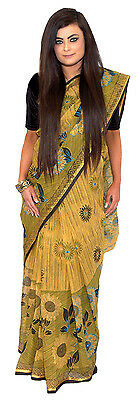 Golden Yellow and Olive Green Summer Flower Tangail Saree (TG4055)