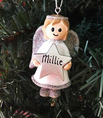 Personalised Name Christmas Angel & Star - Silver or Gold Xmas Tree Decorations
