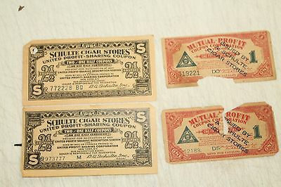 4 Genuine Schulte Cigar Store Certificate Coupons TOBACCO