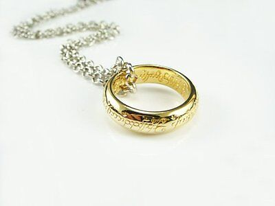 New The Lord of the Rings Ring Replica 24K Gold Plate with Necklace Chain&Case