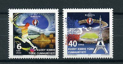 Turkish Northern Cyprus 2016 MNH Euro 2016 Football 2v Set Eiffel Tower Stamps