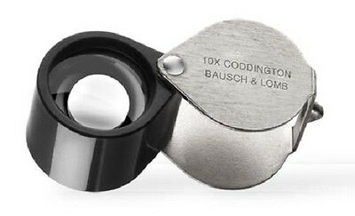 Bausch & Lomb Coddington Loupe 10X Magnifier Gold Jeweler Coins Stamps Free USA