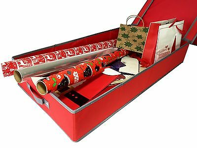Christmas Decorations, GIFT WRAPPING STORAGE BOX  - Red 76cm x 39cm x 12.5cm