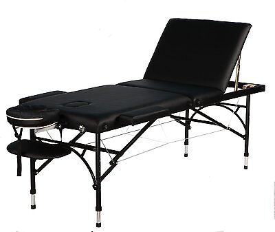 Super Stable Black portable Aluminum 3 sections Massage Table/Bed