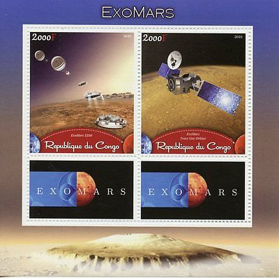 Congo 2016 MNH ExoMars Mars Space Exploration Trace Gas Orbiter 2v M/S Stamps