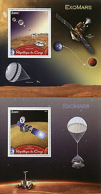 Congo 2016 MNH ExoMars Mars Space Exploration Orbiter 2 x 1v S/S I & II Stamps