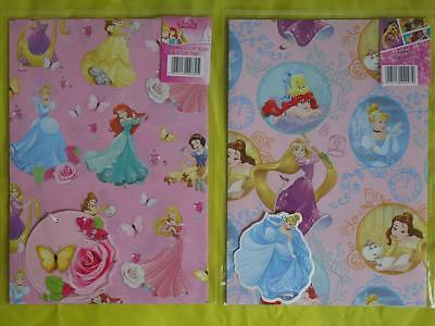 DISNEY PRINCESS - 2 SHEETS of GIFT WRAPPING PAPER & 2 TAGS - Cinderella,Rapunzel