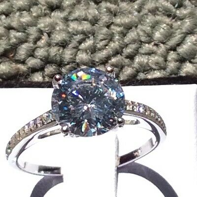 3.8ct (10mm) Round Cut Cubic Zirconia Real 925 Sterling Silver Engagement Ring