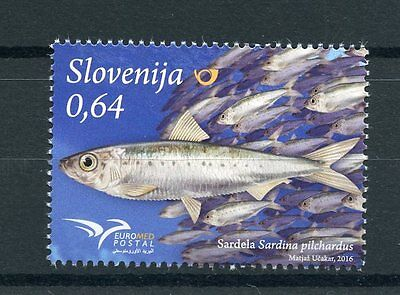 Slovenia 2016 MNH Fish of Mediterranean EUROMED Postal 1v Set Fishes Stamps