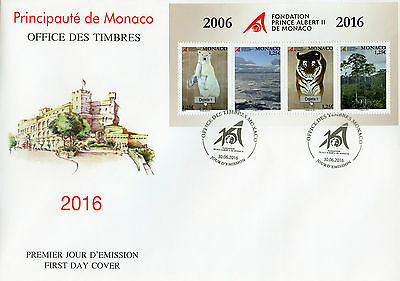 Monaco 2016 FDC Prince Albert II Foundation 4v M/S Cover Tigers Bears Stamps