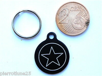 MEDAILLE GRAVEE RONDE NOIRE ETOILE STAR CHATON CHAT collier medalla cane katze
