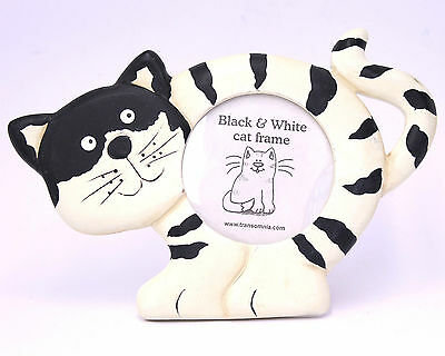 Comical Wooden Wood Black and White Cat Picture Photo Frame - Great Gift Idea