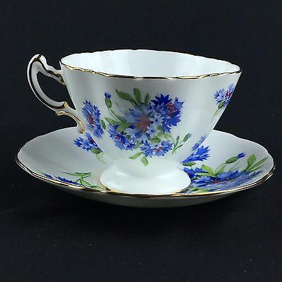 Hammersley Cornflower Blue Footed Coffee Cup Tea Saucer 16th 20th Anniversary