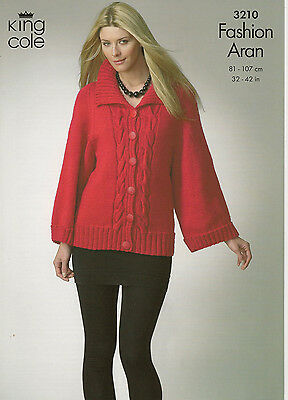 "King Cole ladies Aran cable cardigans knitting pattern 3210 32-42"" chest"