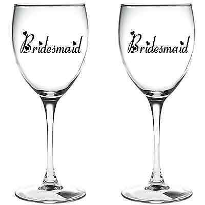 4 x BRIDESMAID WINE GLASS VINYL STICKERS / DECAL (a)